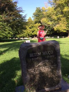 Betim Muco was an internationally known seismologist from Albania who is buried at Rockville Cemetery. In the red dress is tour leader Eileen McGuckian. Photo Credit: Pat Reber